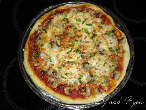 pizza champignon, mozza, basilic 1