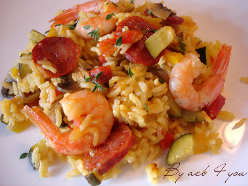 wok de légumes, crevettes et chorizo