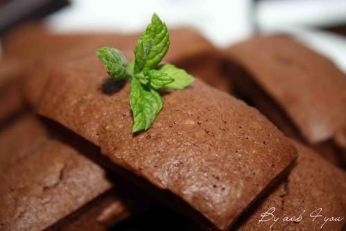 Financiers chocolat aux fèves de cacao et à la menthe