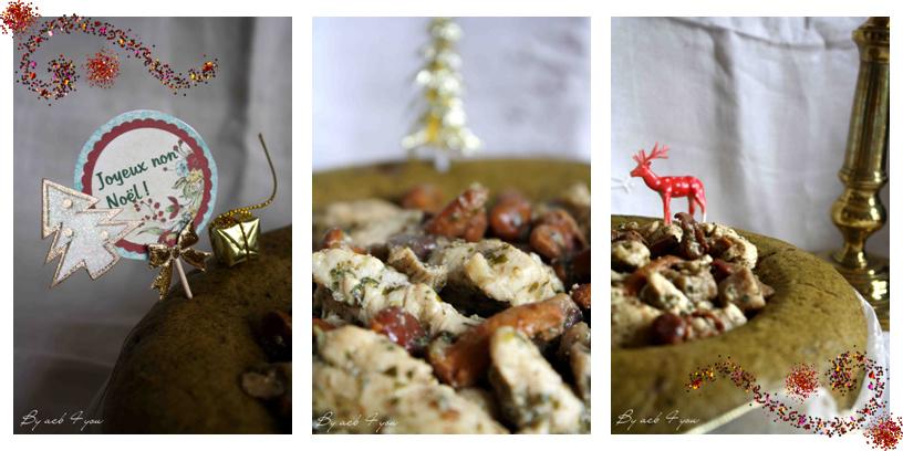 Couronne aux épinards, filets de dinde et son trio de champignons