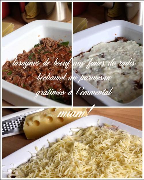 lasagnes de boeuf et fanes de radis c