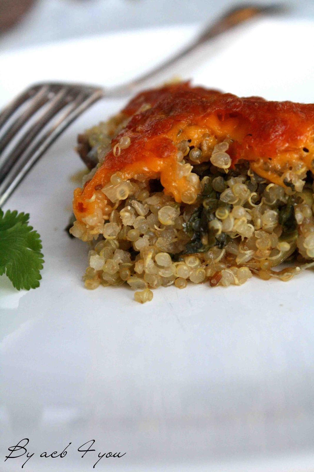 Gratin de quinoa au coriandre et cheddar