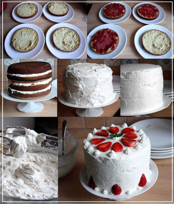 Layer cake à la fraise et chantilly mascarpone