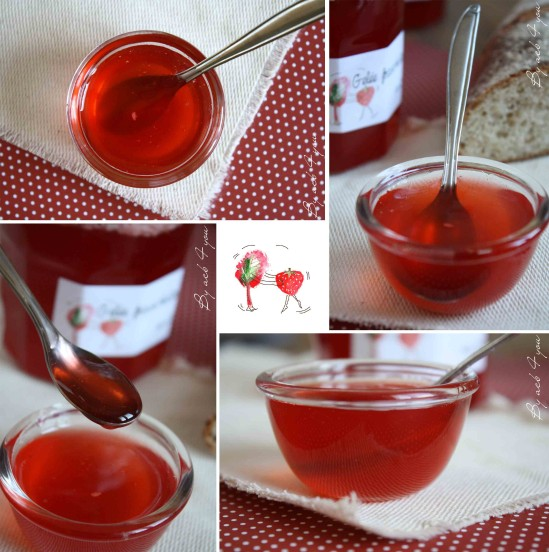 gelée de rhubarbe aux fraises f