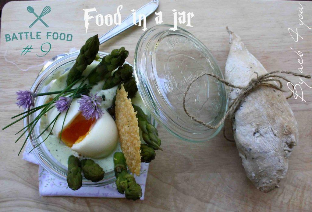 Nid d'asperges vertes in a jar