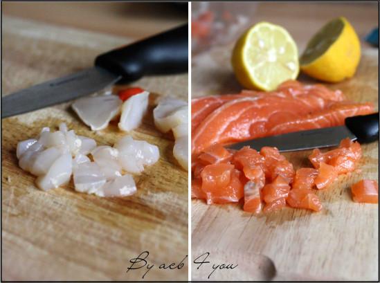 tartare saumon saint Jacques aux courgettes b2
