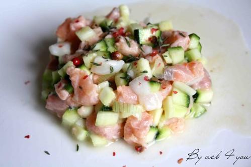 tartare saumon saint Jacques aux courgettes c