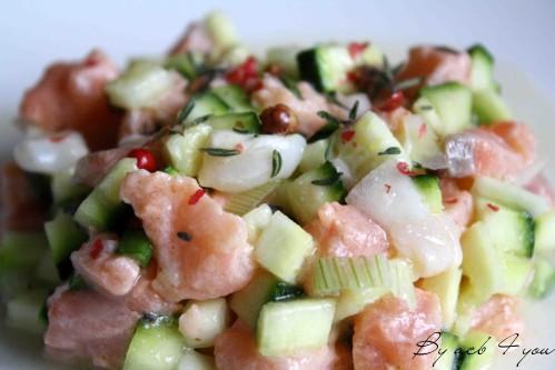 tartare saumon saint Jacques aux courgettes d