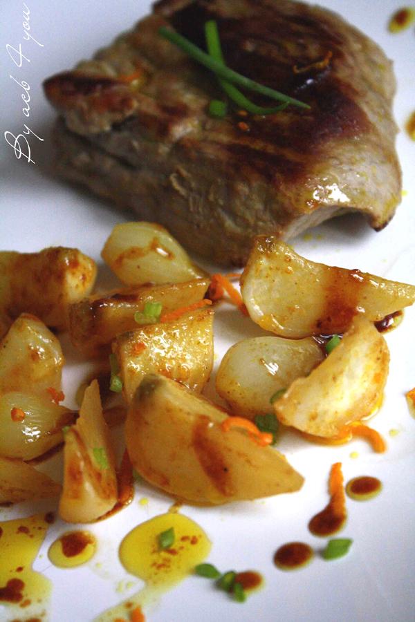Navets et oignons glacés à l'orange et au gingembre, noix de veau