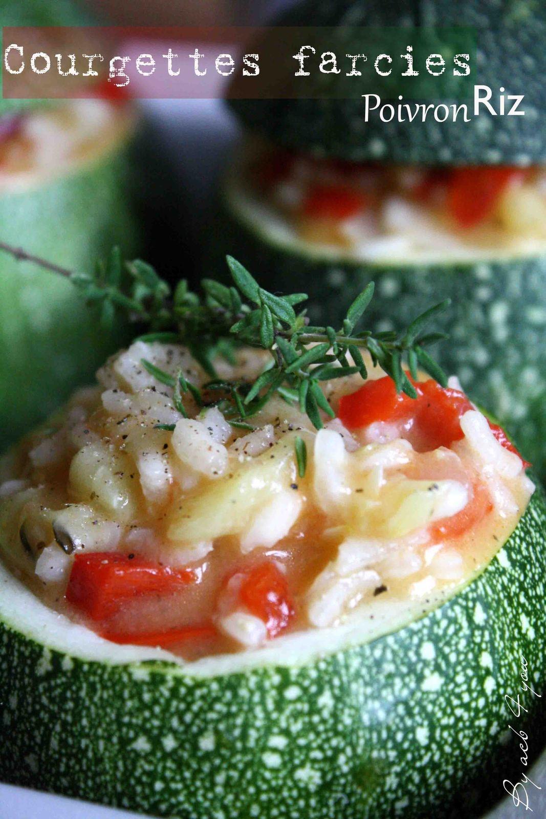 Courgettes farcies au riz et poivron
