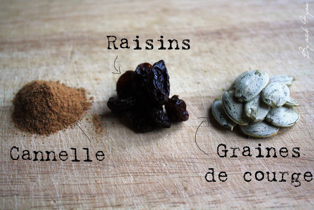 Pain à la cannelle, raisins et graines de courge