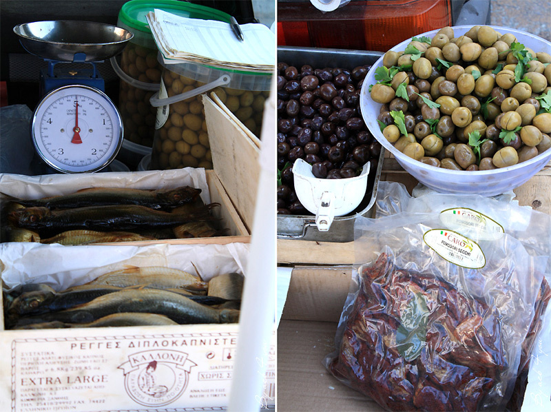 Olives, pâtisseries à la ricotta, vin local