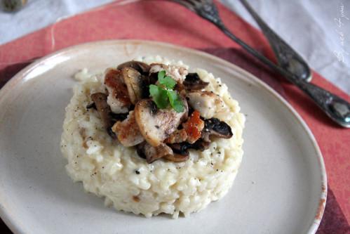 Risotto au gorgonzola et poulet aux champignons