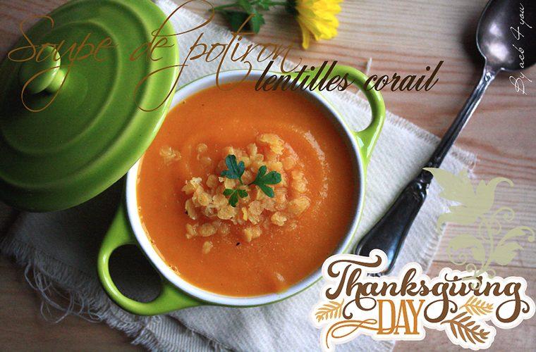 Soupe de potiron et lentilles corail