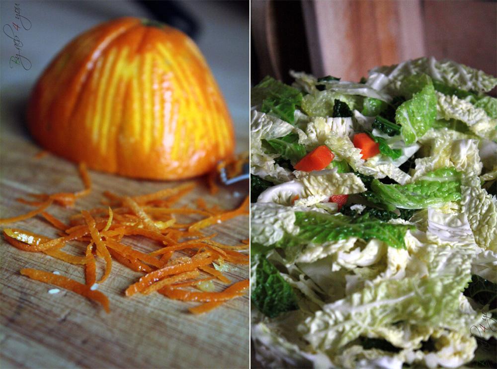 Magret de canard sauce à l'orange et émincé de chou vert
