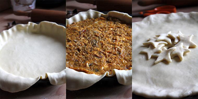 Tourte de butternut, marrons et chapon ou comment recycler les restes de Noël