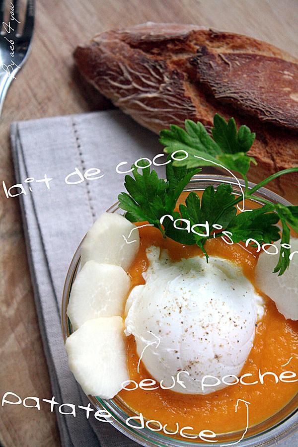 Velouté de carotte, patate douce au lait de coco et son œuf poché