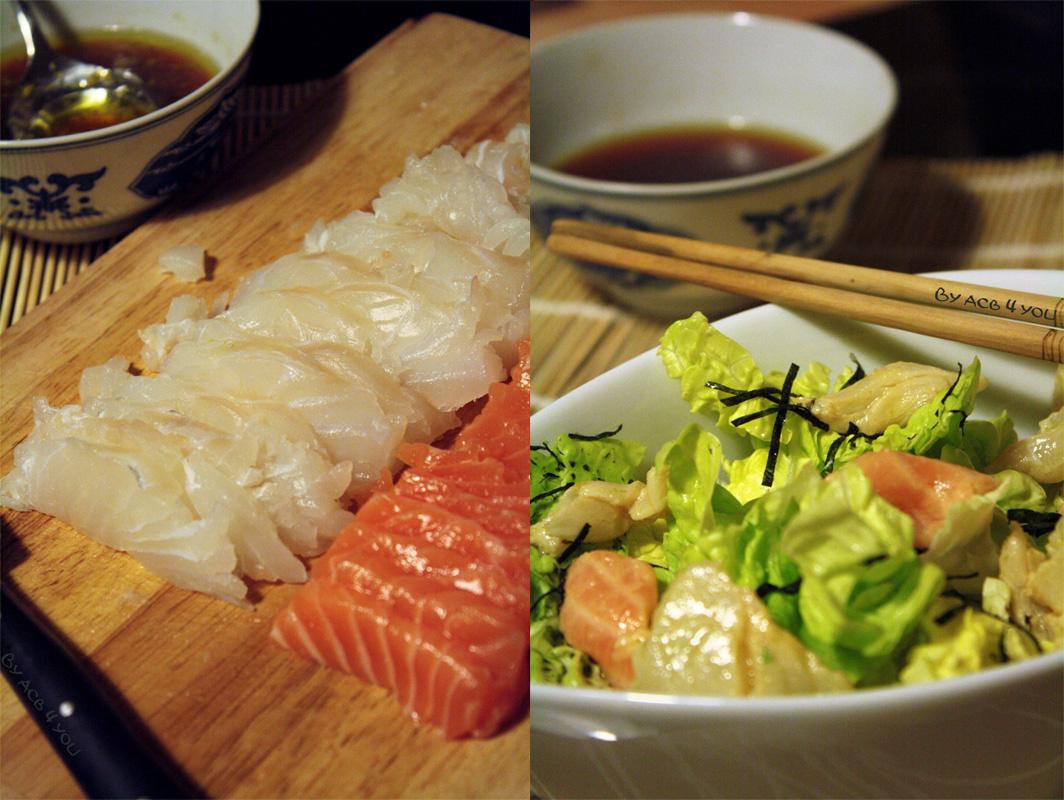 Salade de jeunes laitues au vinaigre de riz et poissons marinés