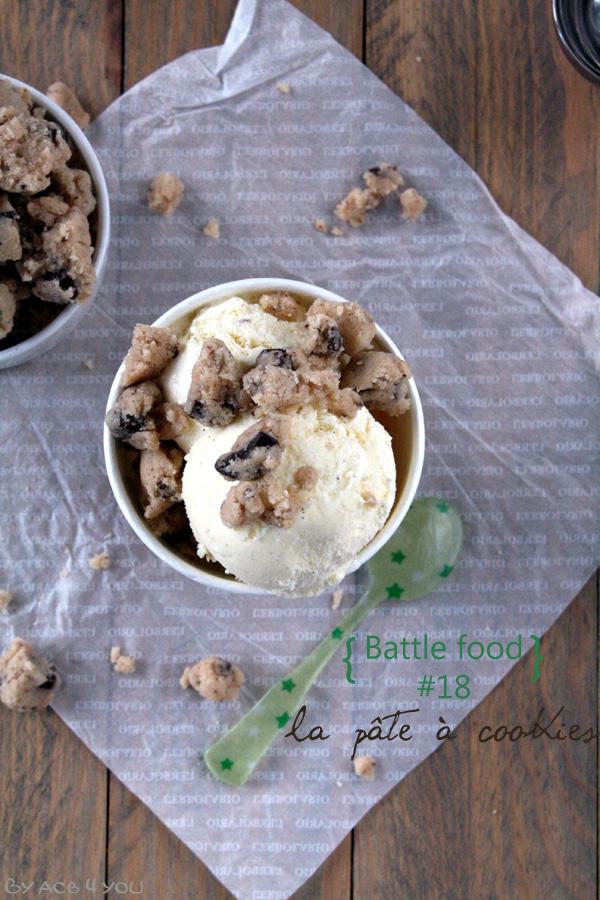 Glace à la vanille et pâte à cookies