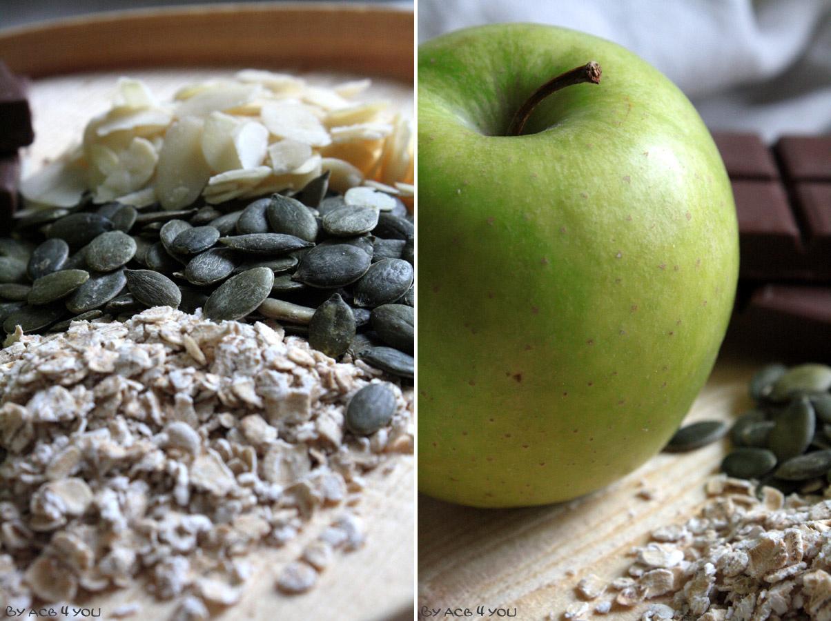 Barres de céréales pomme et chocolat caramel