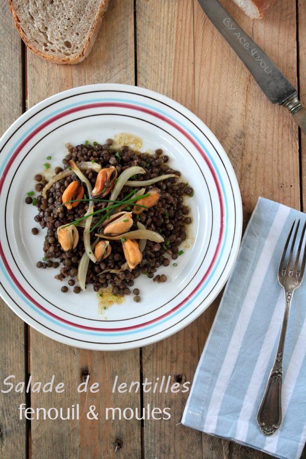 Salade de lentilles, fenouil et moules