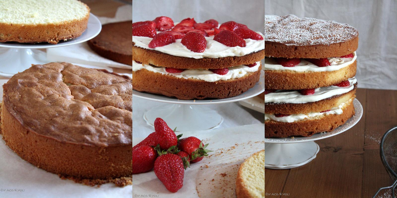 Layer cake façon sponge cake fraises et chantilly