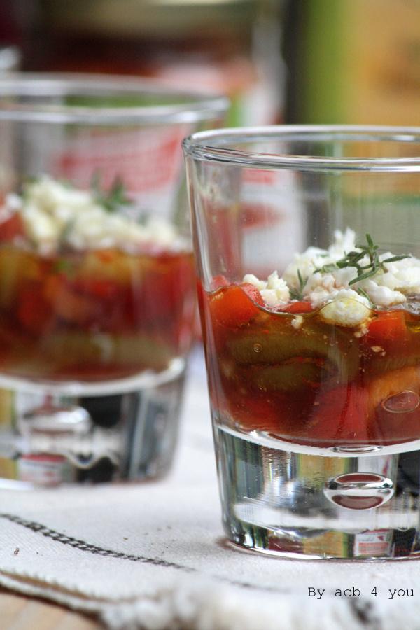 Poivrons marinés au piment d'Espelette et crottin de chèvre, verrines épicées de l'été pour la Battle food #22
