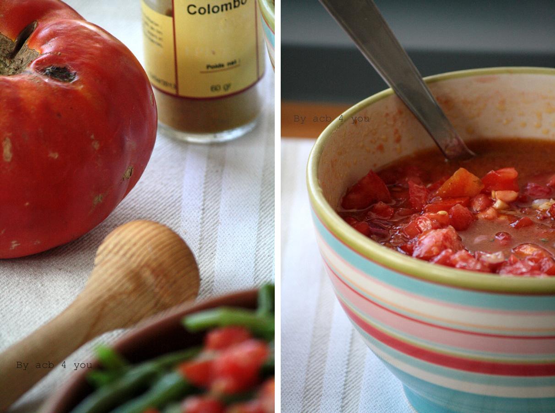 Salade de haricots verts et rougail de tomates au colombo