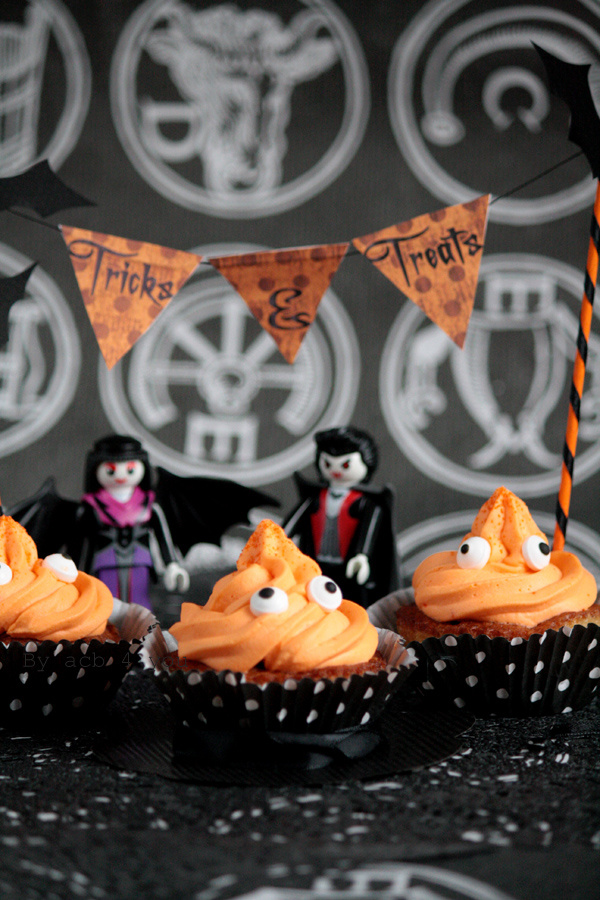 Cupcake d'Halloween poire, noisette, orange et double choc!