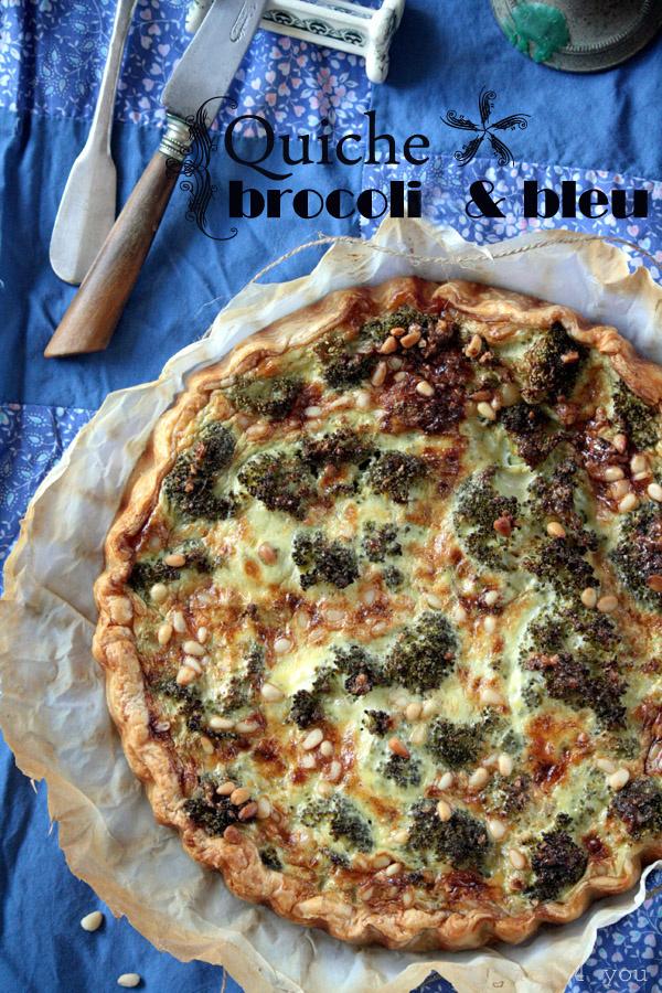 Quiche au brocoli, Bleu d'Auvergne et pignons