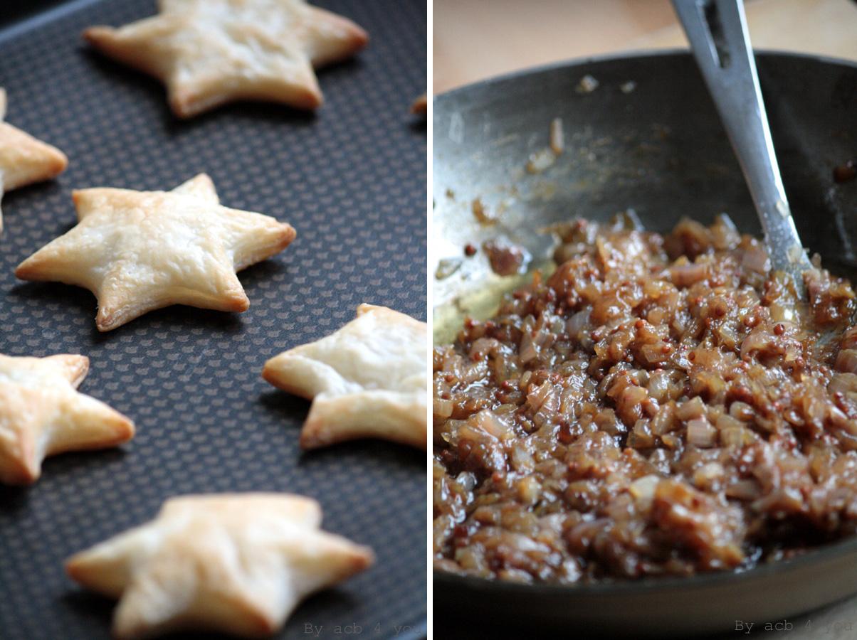 Feuilletés étoilés au foie gras, confit d'échalote moutarde balsamique et miel