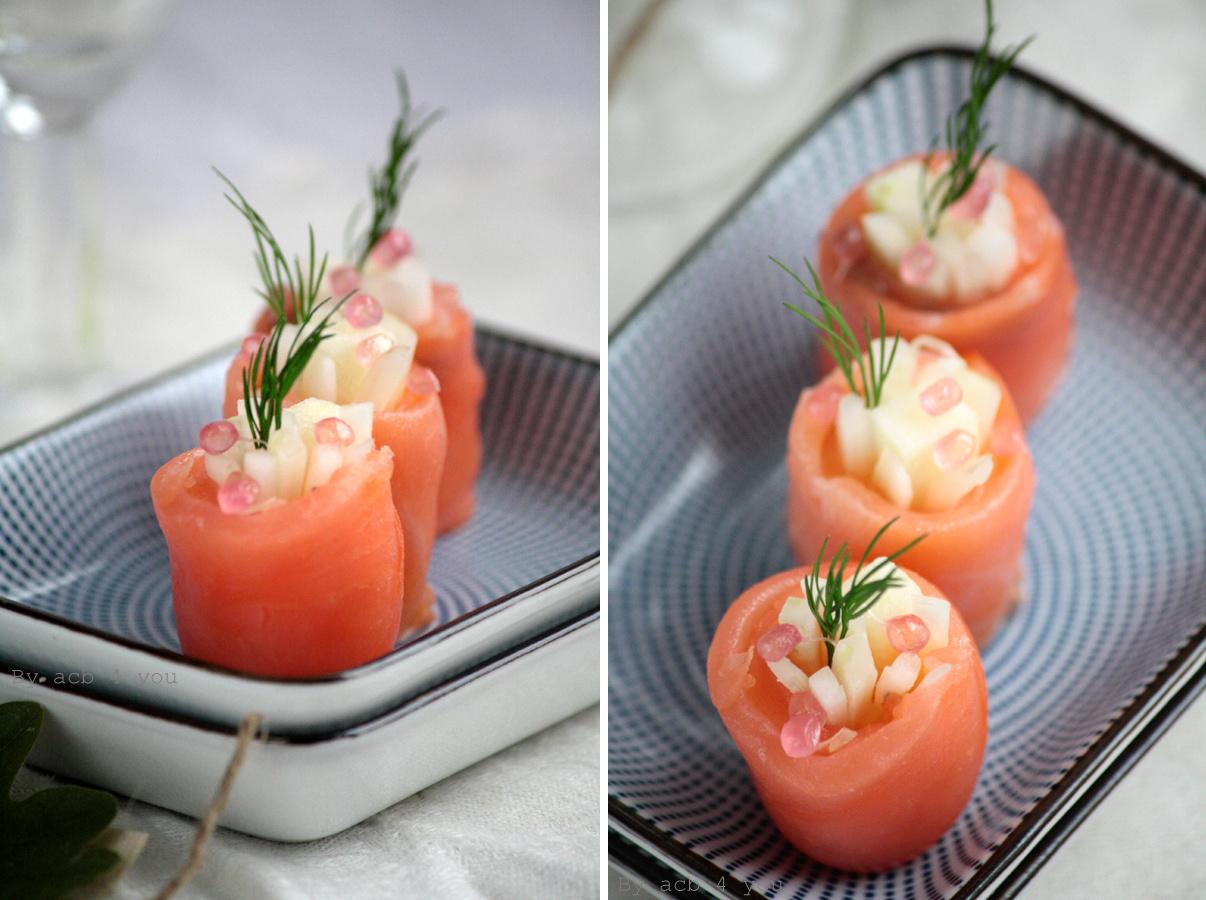 Maki de saumon fumé au fenouil, pomme et citron caviar