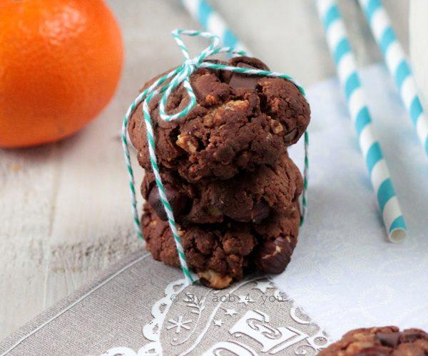 Cookies tout choco, mandarine et noisette