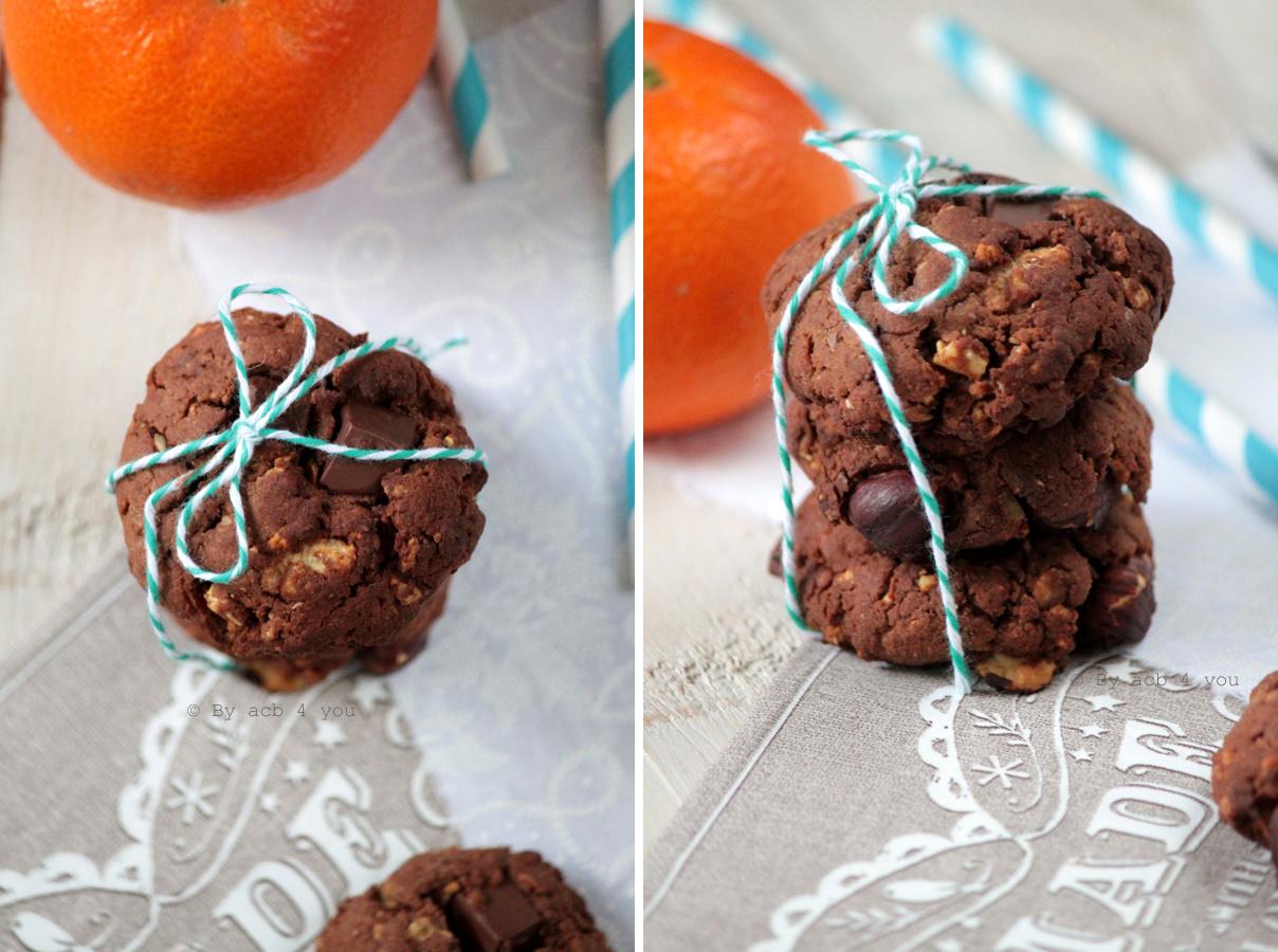Cookies tout choco, mandarine et noisette {vegan}