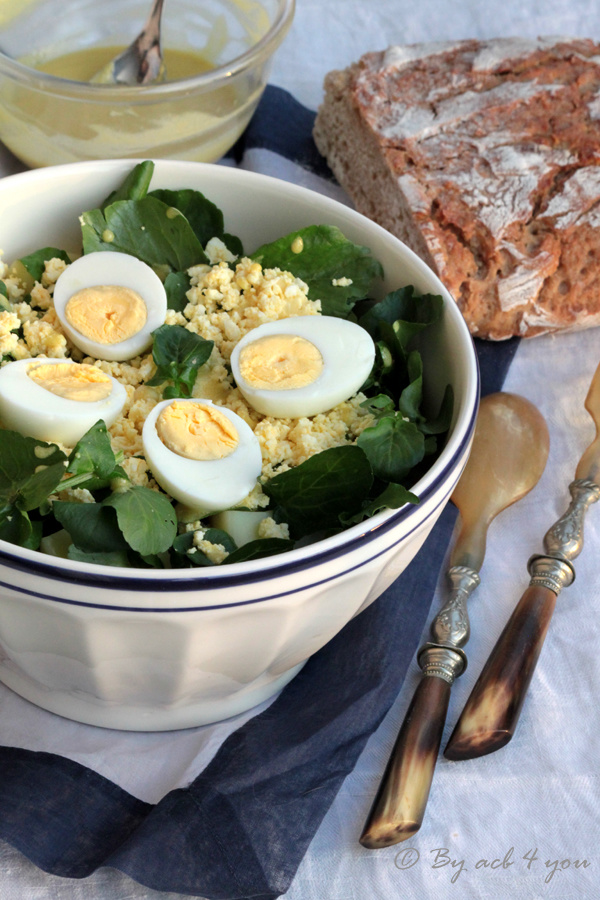 Salade de cresson aux œufs et sa vinaigrette moutardée
