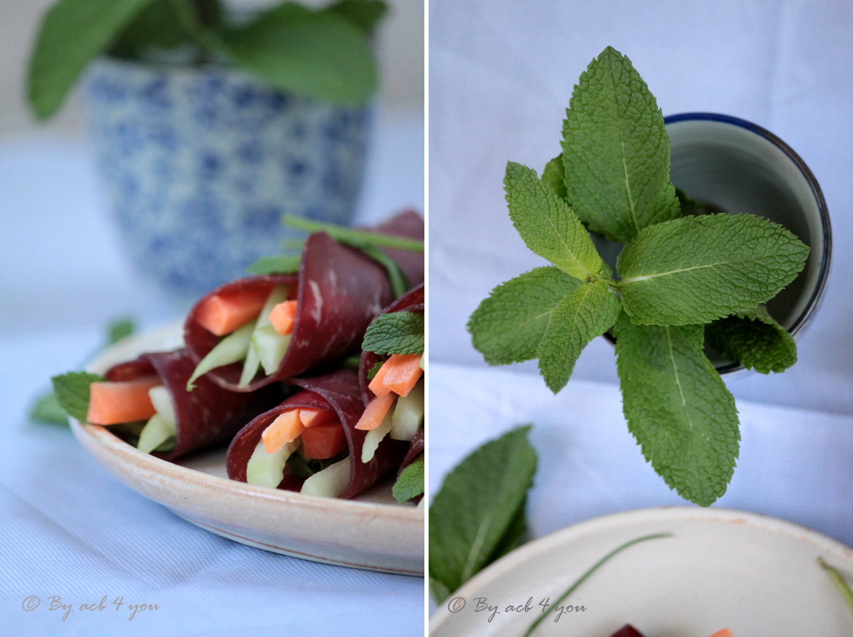 Rouleaux de pavé tendre de bœuf séché aux légumes
