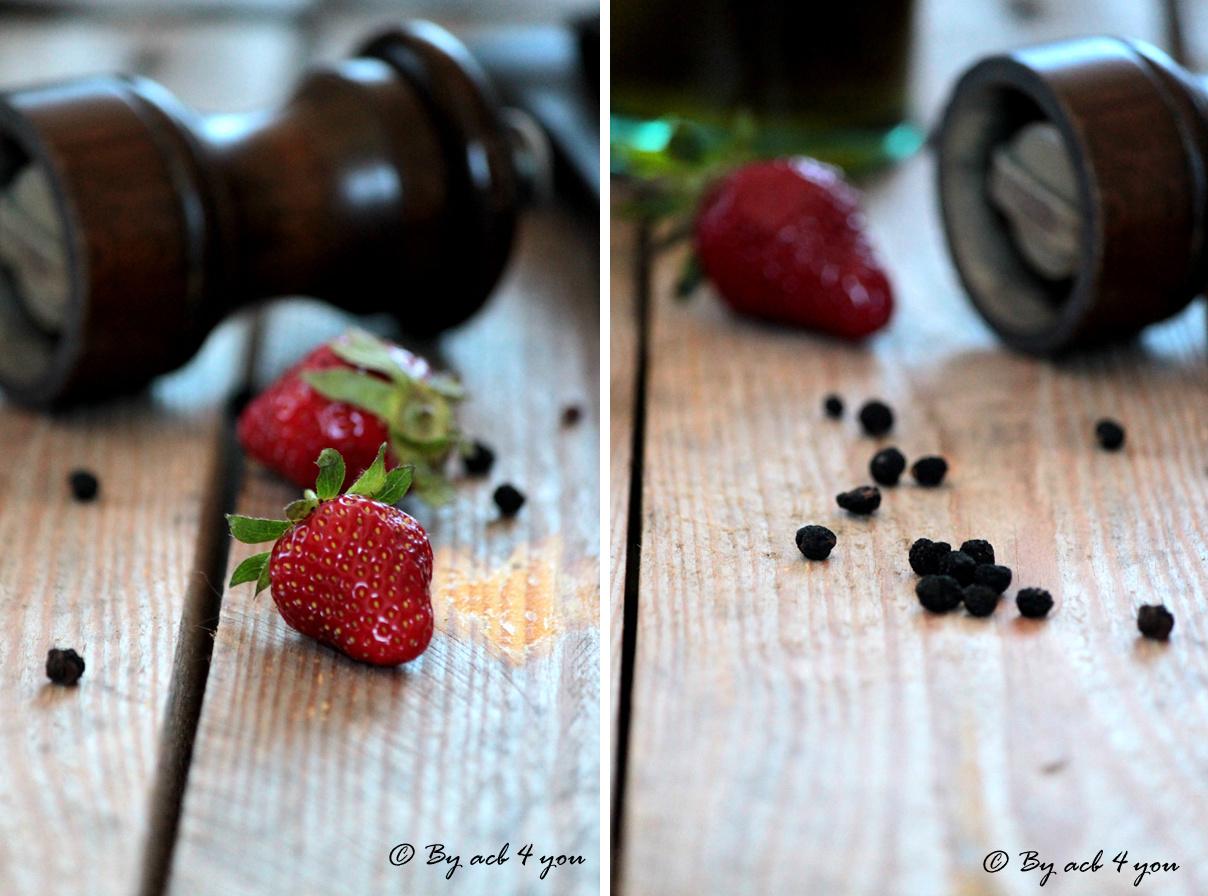 Carpaccio de fraises, féta et poivre de Tasmanie