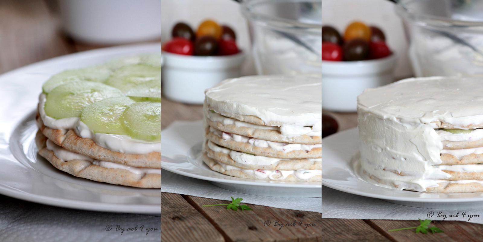 Sandwich cake tomate et concombre au basilic