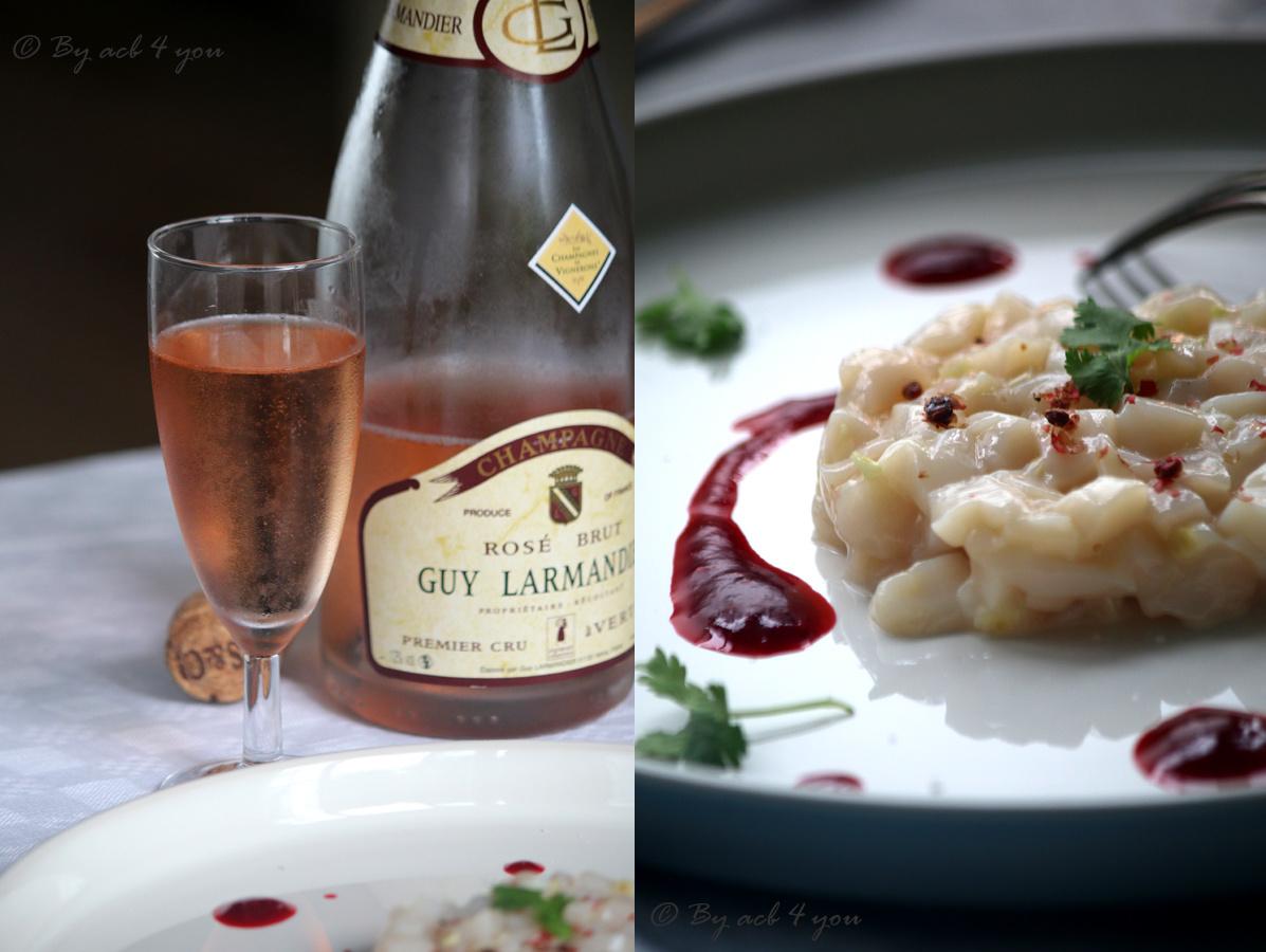 Tartare de Saint-Jacques à la citronnelle, coriandre, baies roses et jus réduit de framboises {Concours avec les champagnes de vignerons}