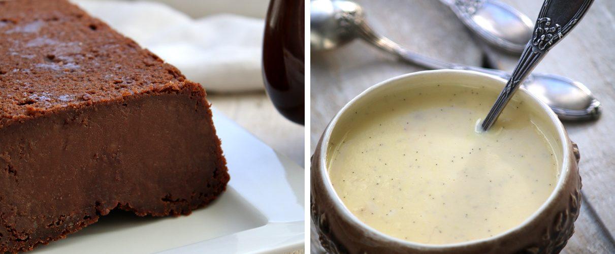 Fondant au chocolat et aux châtaignes, crème anglaise