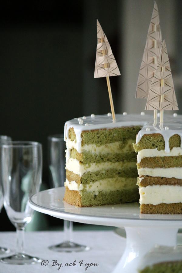 Naked cake au thé Matcha et au citron vert