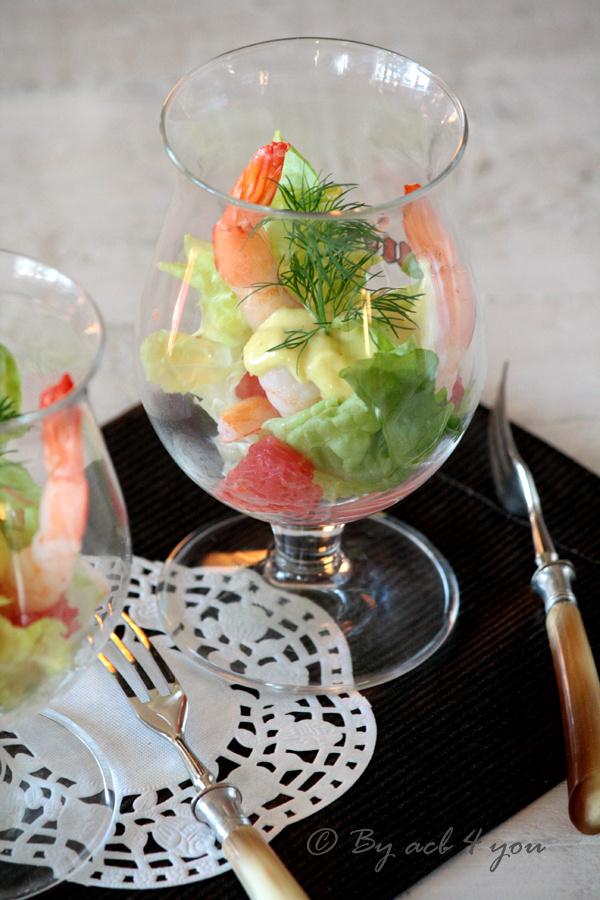 Salade de pamplemousse et crevettes roses