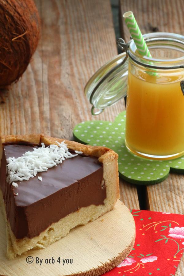 Tarte au chocolat, noix de coco et fruits de la passion