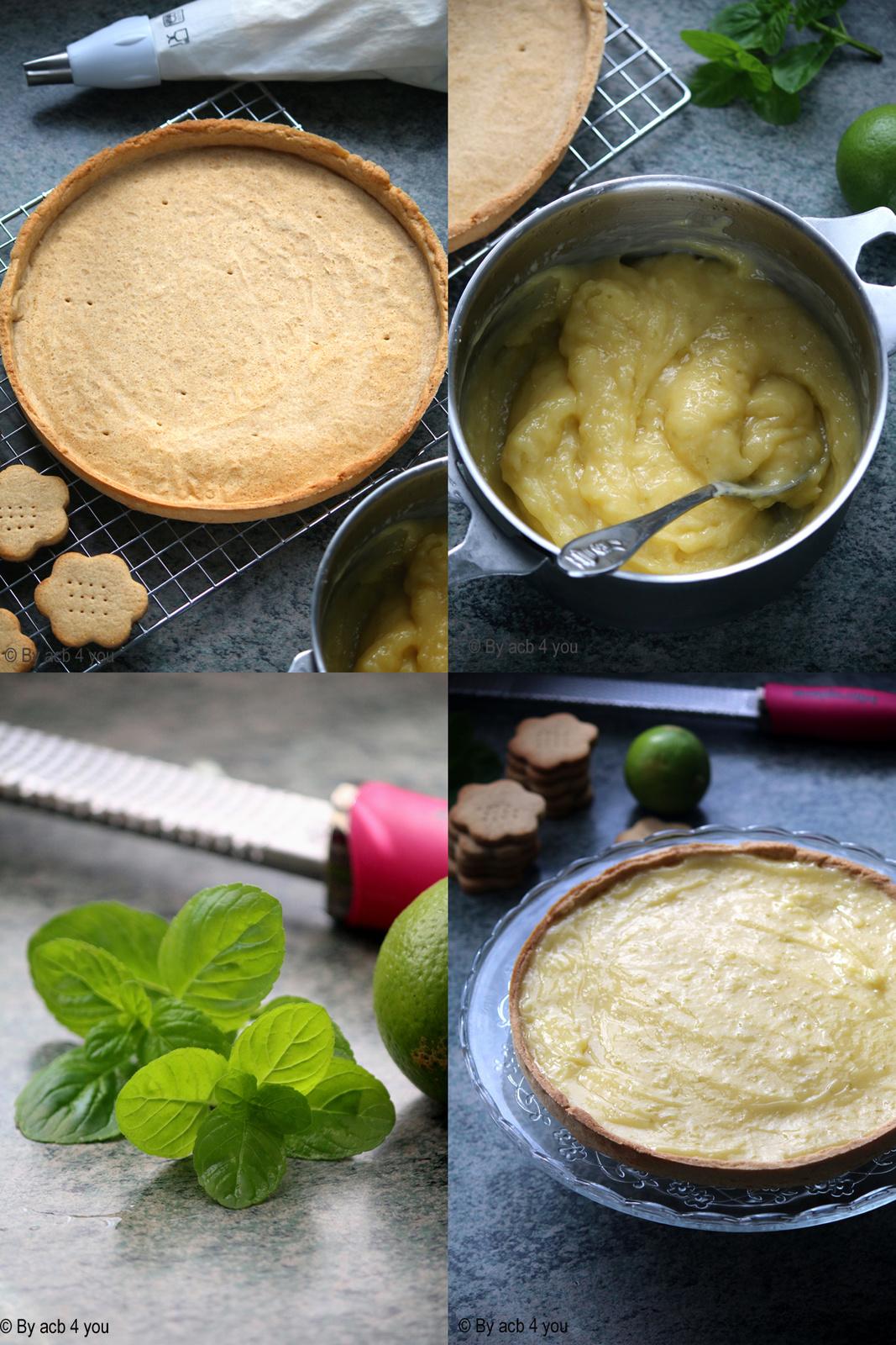 Tarte au citron vert, chocolat ivoire et menthe