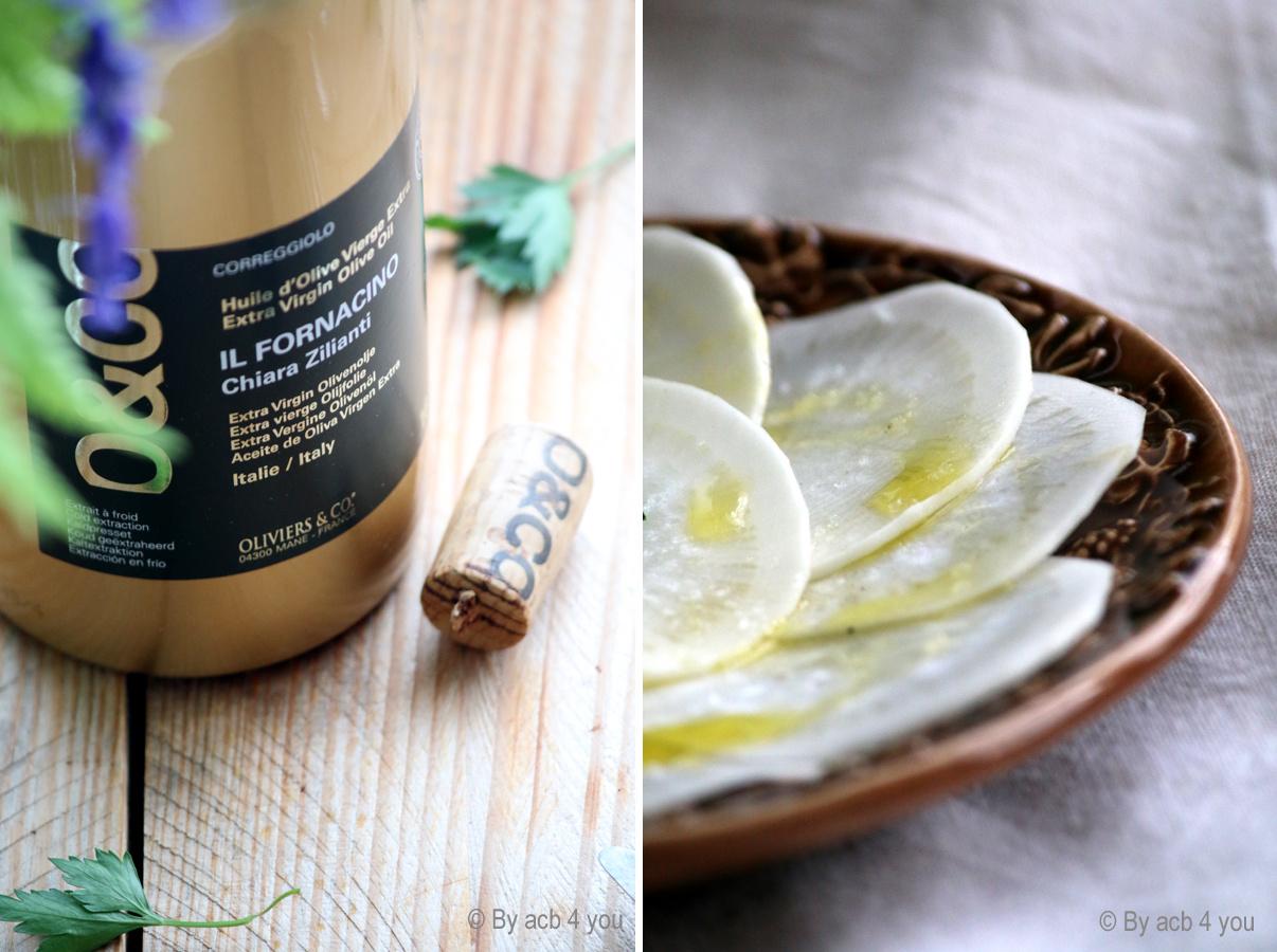 Carpaccio de radis noir à l'huile d'olive