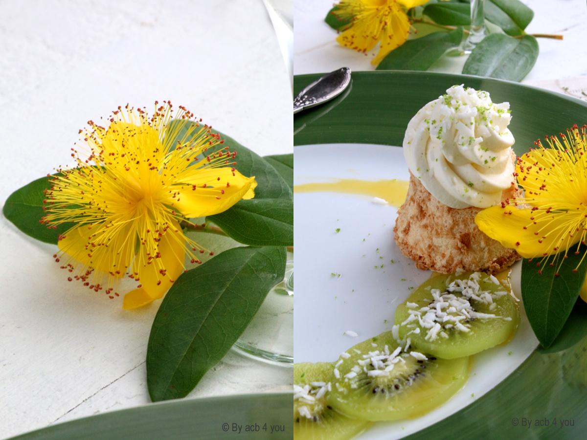Angel cake à la noix de coco, kiwi et combava