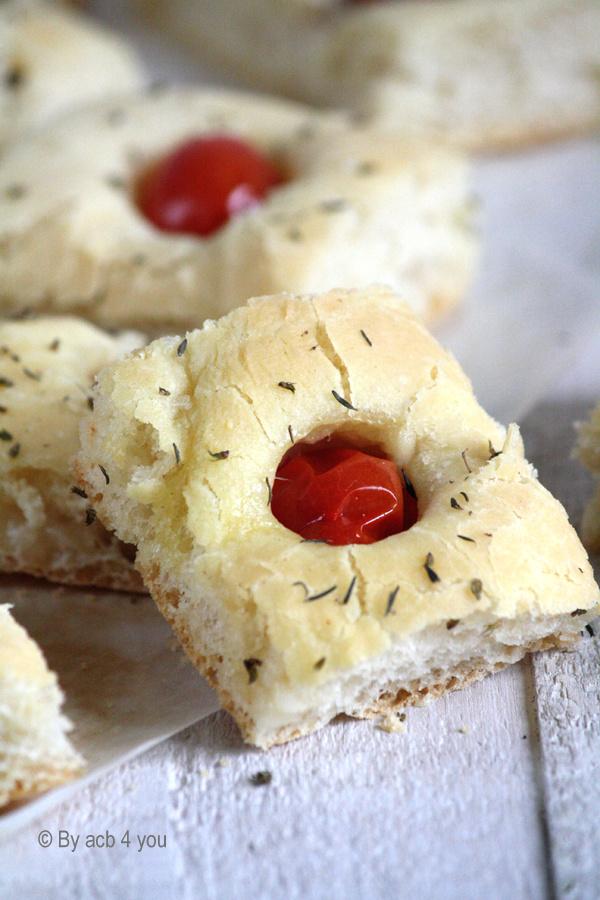 Focaccia tomate et mozzarella
