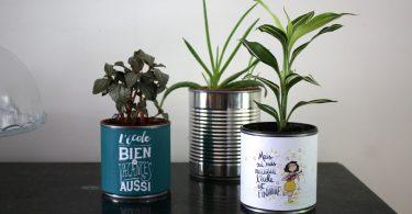 Cadeaux pour les maîtresses et recyclage de boites de conserve