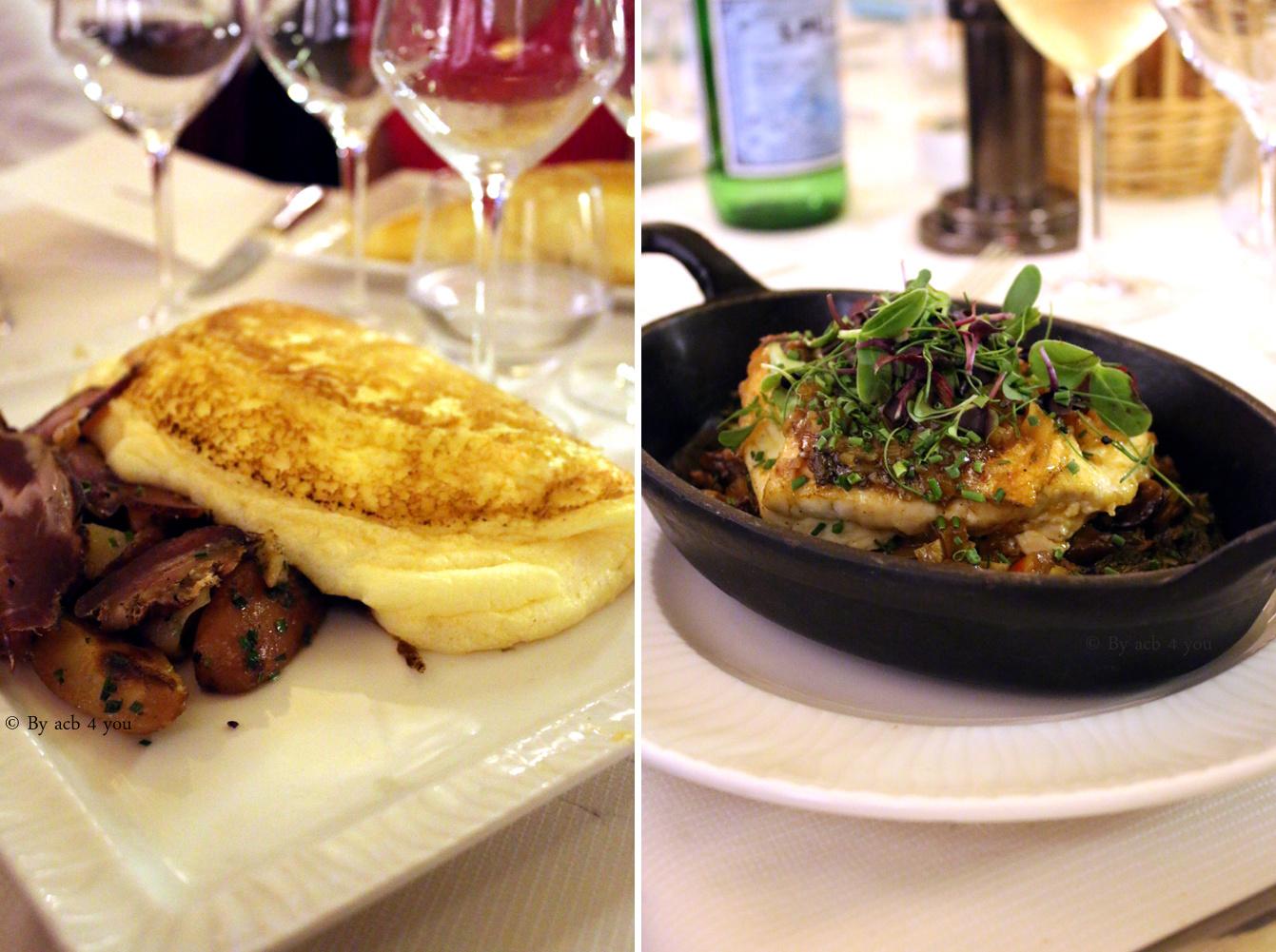 Omelette tradition La mère Poulard au lard à l'ancienne ou bar rôti à l'échalote et citron confit