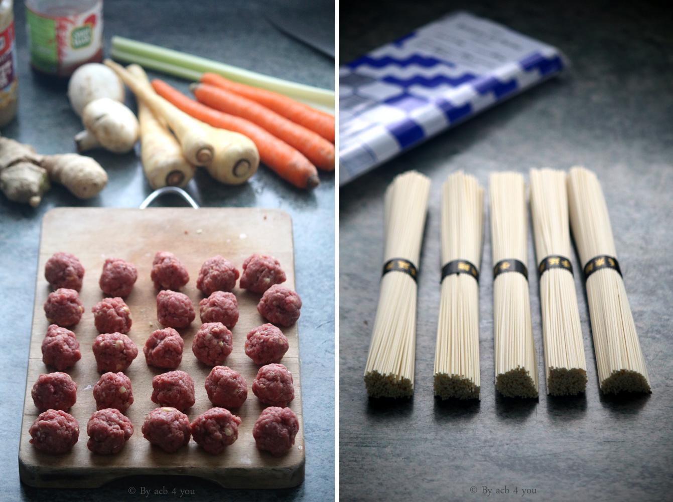 Soupe au Sômen et boulettes de bœuf cacahuète et gingembre {concours inside}